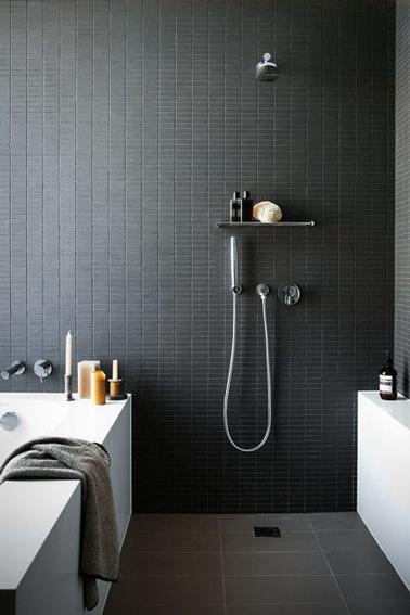 Id es d co pour une salle de bain grise deco cool - Kleine badkamer deco ...