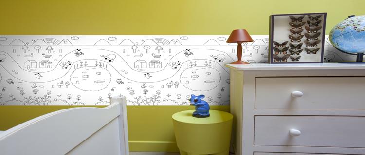 Chambre Bebe Fille Rose Et Marron : frise à colorier pour deco chambre enfant avec kit colle Quelyd