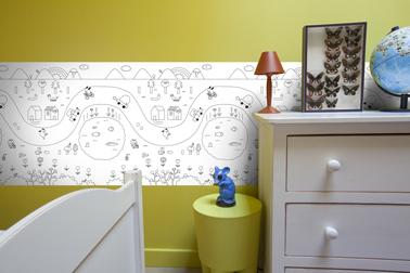 Frise illustrée à colorier aux feutres, crayons ou peinture pour une déco tendance dans la chambre des enfants