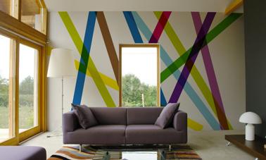Papier peint contemporain panoramique dans salon - Papier peint ontwerp contemporain ...