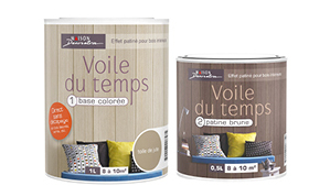 Peinture lambris voile du temps base color e patine brune for Peinture lambris vernis