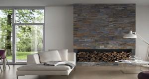 plaquettes de parement en pierre ou en platre pour la déco murale du salon