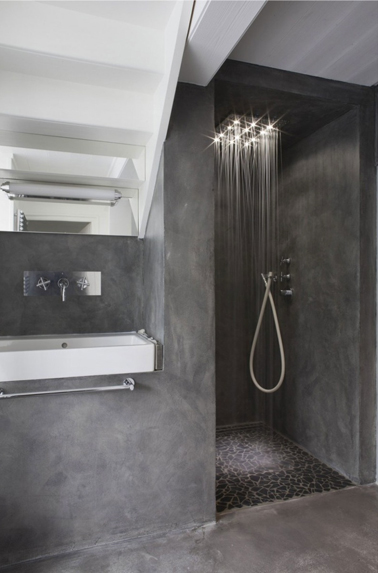 salle de bain design en b ton gris anthracite. Black Bedroom Furniture Sets. Home Design Ideas