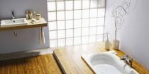 brique de verre pour mur salle de bain decoration zen