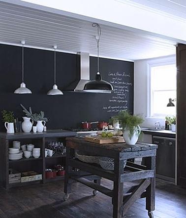 D co cuisine avec une peinture tableau noir sur mur cr dence for Deco cuisine mur