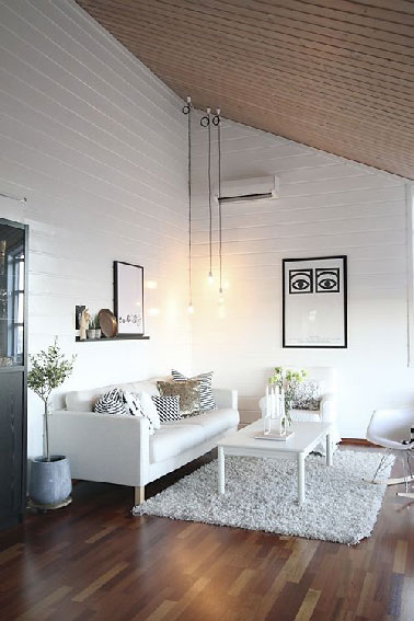 D co salon blanc repeindre le salon en blanc c 39 est chic for Decoration salon en bois
