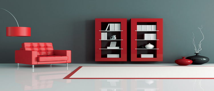 deco salon couleur peinture gris bleute meubles rouge. Black Bedroom Furniture Sets. Home Design Ideas