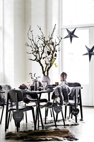 Une table de Noël en total look noir des sets de table à la vaisselle c'est chic et tendance avec des paillettes et des mini boules couleur or.