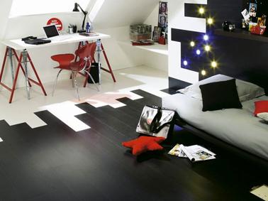 decoration bureau chambre ado couleur blanc noir rouge. Black Bedroom Furniture Sets. Home Design Ideas