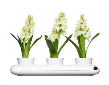 Jardinière trois pots avec réserve d'eau pouvant contenir fleurs d'ornement ou plantes aromatiques