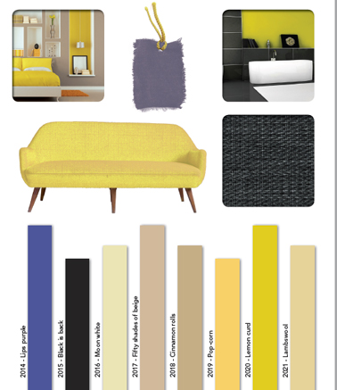 palette couleur deco en jaune et noir. Black Bedroom Furniture Sets. Home Design Ideas