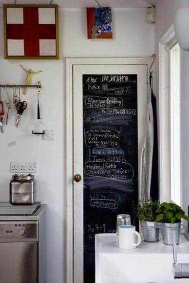 Peinture tableau noir sur porte de cuisine - Tableau ardoise deco cuisine ...