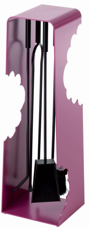 serviteur design en acier violet avec 4 accessoires cheminée aimantés de Dix Neuf Design Chez Factory Design