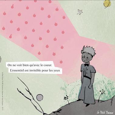 """Tableau """"On ne voit qu'avec le coeur."""" de la collection sticker et tableaux Le Petit Prince chez DécoMinus"""