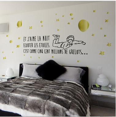 sticker chambre le petit prince ecouter les etoiles decominus. Black Bedroom Furniture Sets. Home Design Ideas