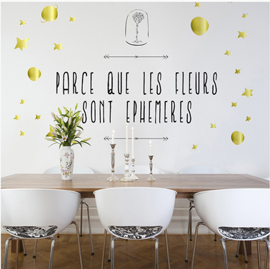 """Sticker salle à manger """"Les Fleurs sont éphémères"""" de la collection Le petit Prince chez DécoMinus"""