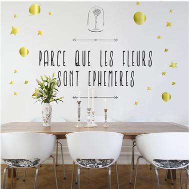 sticker salle a manger les fleurs sont ephemeres decominus. Black Bedroom Furniture Sets. Home Design Ideas
