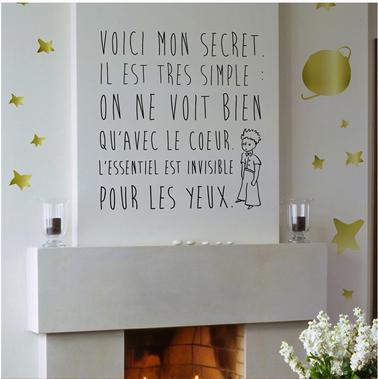 """sticker sur cheminée salon Sticker """"Le Secret"""" du Petit Prince chez DécoMinus"""