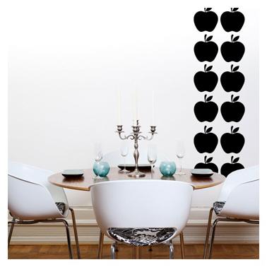 stickers motif pomme noir pour décoration murale salle à manger noir et blanc