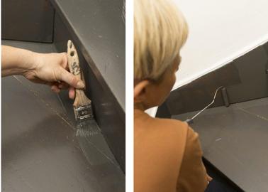 Appliquer une deuxième couche de peinture Rénovation Plancher & Escaliers V33 après un temps de séchage de 3 heures