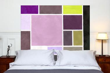 tete de lit tissu carr s rose prune jaune mademoiselle tiss. Black Bedroom Furniture Sets. Home Design Ideas