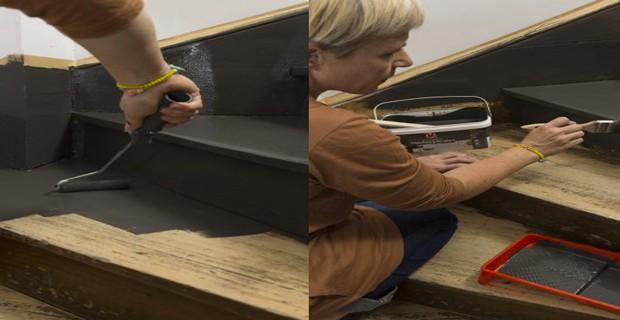peindre un escalier en bois avec la peinture r novation v33 d co cool. Black Bedroom Furniture Sets. Home Design Ideas