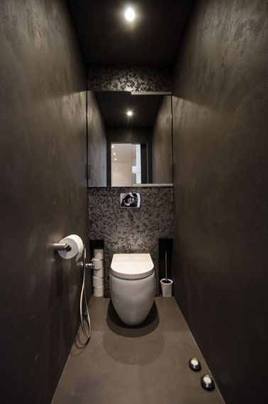 Deco toilette design murs stuc gris taupe - Decoration wc moderne ...