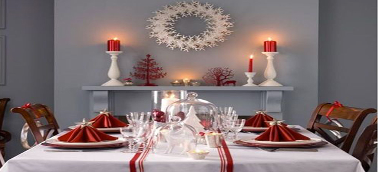 D coration de no l rouge et blanc faire soi m me for Deco table de noel fait maison