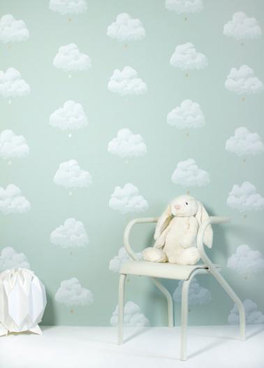 papier peint intissé motif nuage vert pour chambre enfant de la collection Nuage de coton de Bartsch