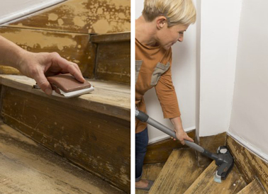 Peindre un escalier en bois avec la peinture r novation v33 - Peinture pour bois sans poncer ...