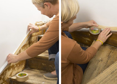 Protéger les bas de murs avec du ruban adhésif Tesa avant de commencer à peindre un escalier en bois