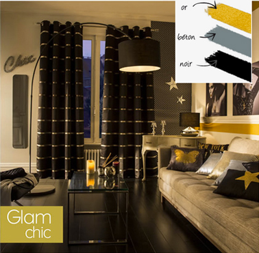 tendance deco salon style glam chic chez castorama couleur or beton noir. Black Bedroom Furniture Sets. Home Design Ideas
