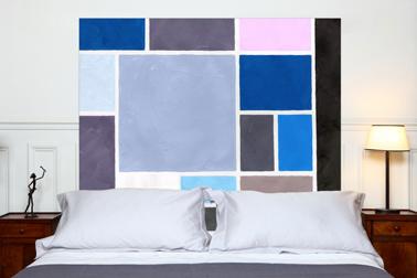 Tête de lit en tissu métis lin coton motif Poudrées Mademoiselle Tiss
