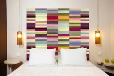 Tête de lit en tissu métis lin coton motif : Berlingo Mademoiselle Tiss