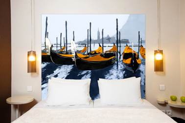 Tête de lit tissu métis lin coton motif orange : Les Gondoles de Venise, Mademoiselle Tiss