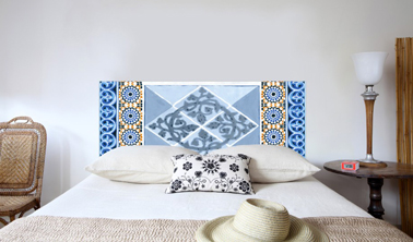t te de lit tissu mosaique bleu mademoiselle tiss. Black Bedroom Furniture Sets. Home Design Ideas