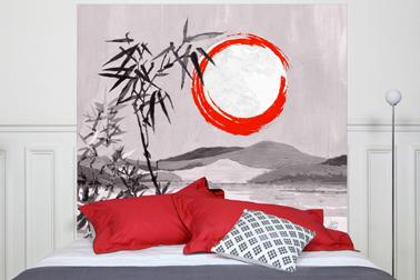 Tête de lit en tissu métis lin coton motif : Sous La Lune, dimension : 160x140 cm Mademoiselle Tiss