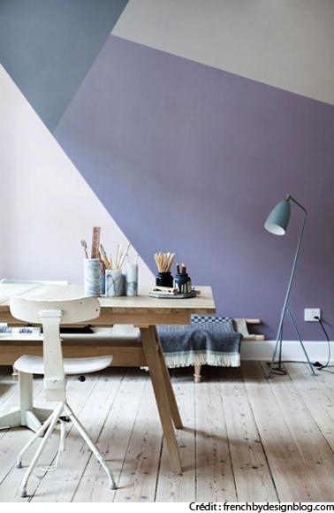 Amenagement bureau sous combles couleur bleu blanc - Couleur mur bureau maison ...
