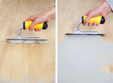 A l'aide d'une taloche, appliquez l'effet pierre dans le sens de la longueur du plan de travail