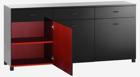 Buffet bas 3 portes finition laquée haute brillance Modèle Seatle disponible en 3 couleurs. Habitat