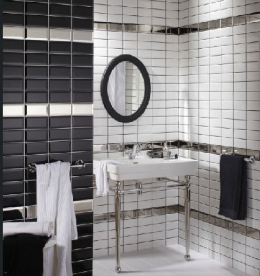 carrelage de salle de bain noir et blanc. Black Bedroom Furniture Sets. Home Design Ideas