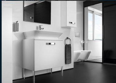 D co salle de bain meuble vasque blanc carrelage noir aubade - Idee deco salle de bain noir et blanc ...