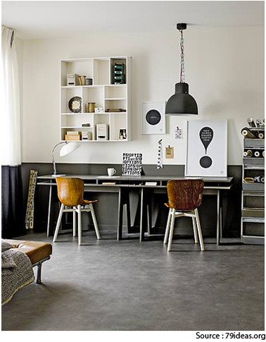 idee deco bureau double gris taupe et blanc esprit vintage. Black Bedroom Furniture Sets. Home Design Ideas