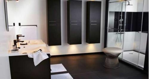 Id es d co de salle de bain noir et blanc - Decoration salle de bain noir et blanc ...