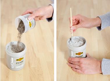 Bien mélanger le pot de paillettes de mica à la base effet pierre Liberon avant de relooker le plan de travail