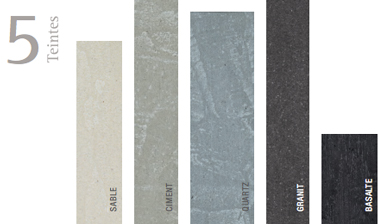 Nuancier peinture effet pierre de Libéron : effet granit, quartz, ciment gris, basalte et sable
