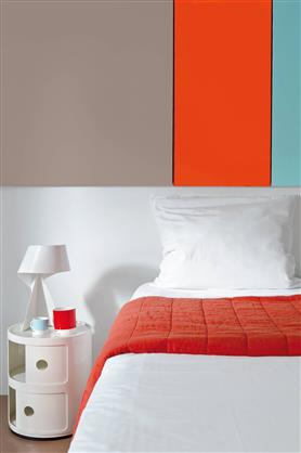 peinture chambre couleur orange gris et vert en bande. Black Bedroom Furniture Sets. Home Design Ideas