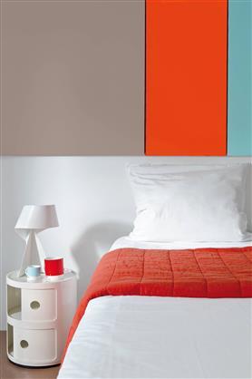 Peinture chambre couleur orange gris et vert en bande for Peinture chambre orange et gris