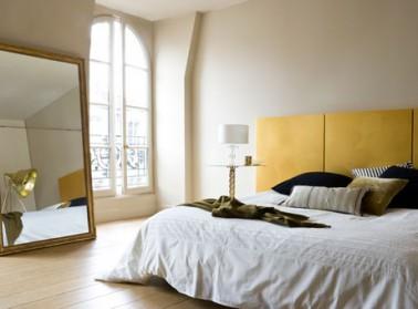 Peinture chambre zen couleur lin et t te de lit jaune for Couleur de peinture pour chambre adulte