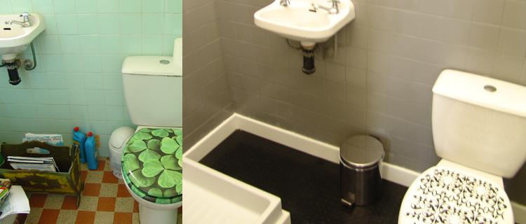 Peinture sur carrelage cuisine salle de bain for Peinture sol cuisine